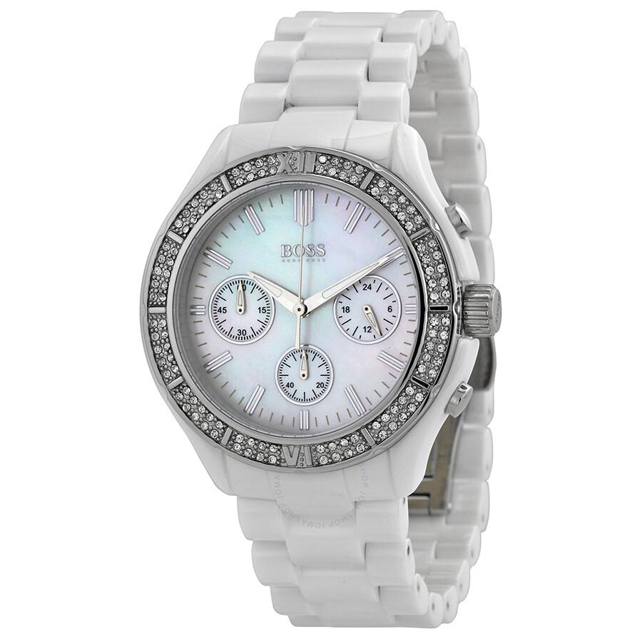 Hugo boss chronograph white dial white ceramic ladies watch 1502355 hugo boss watches jomashop for Hugo boss watches