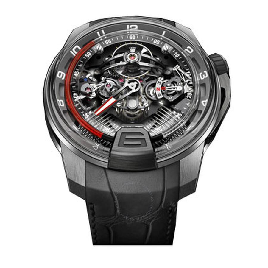HYT H2 Titanium Platinum SQ Black Alligator Mens Watch 248-TP-00-RF-AB