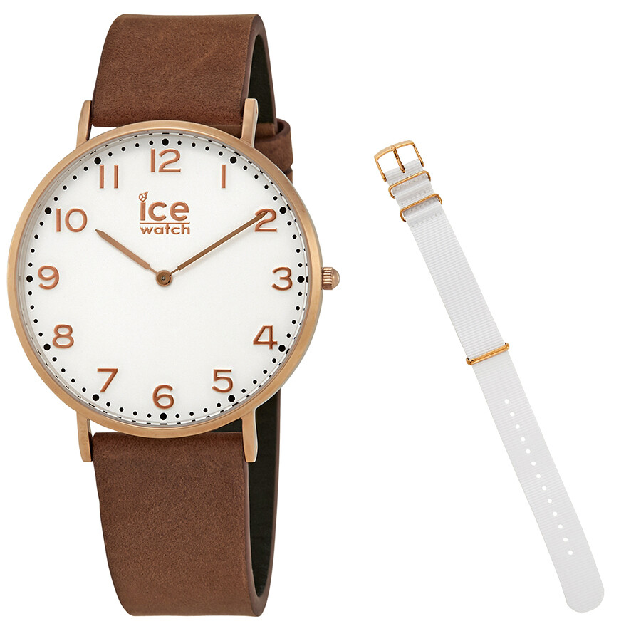 Ice-Watch City 41mm White Dial Brown Leather Watch 001361 ...