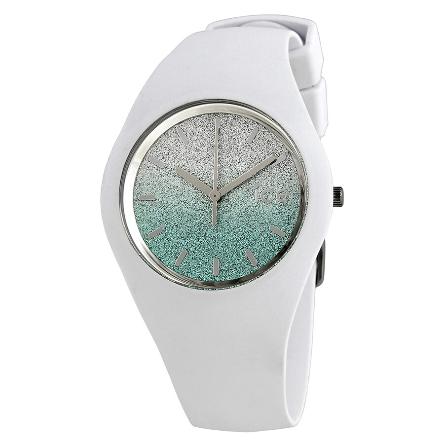 Ice watch lo 40mm silver green gradient glitter dial ladies watch 013430 watches jomashop for Gradient dial watch