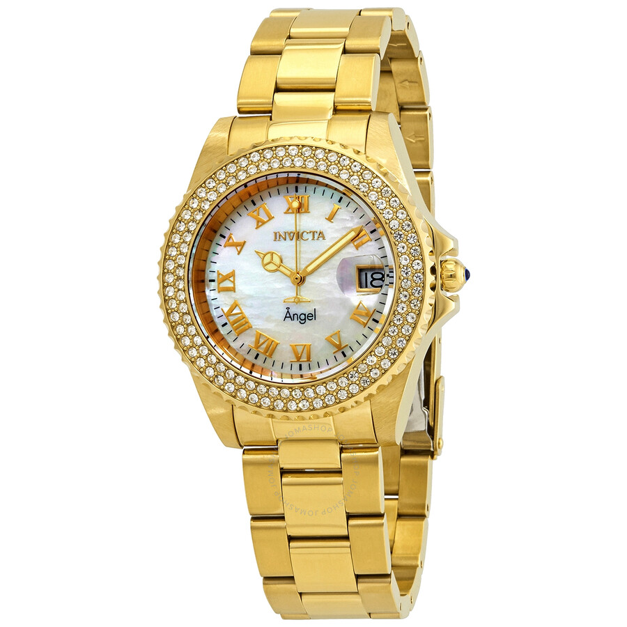 Invicta Angel Crystal White Mother of Pearl Dial Ladies Watch 22875