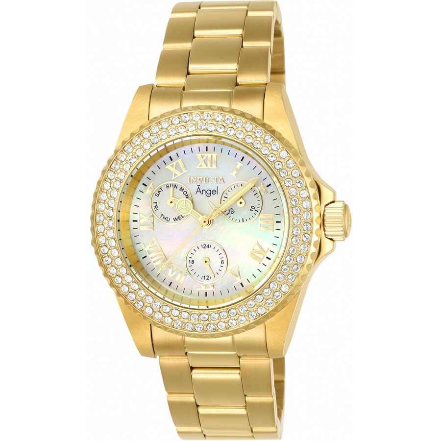 Invicta Angel Crystal White Mother of Pearl Dial Ladies Watch 23576