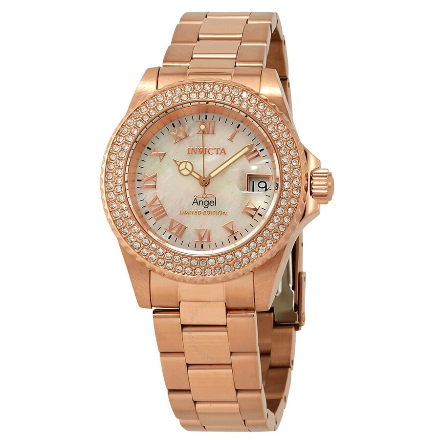 Invicta Angel Crystal White Mother of Pearl Dial Ladies Watch 24615