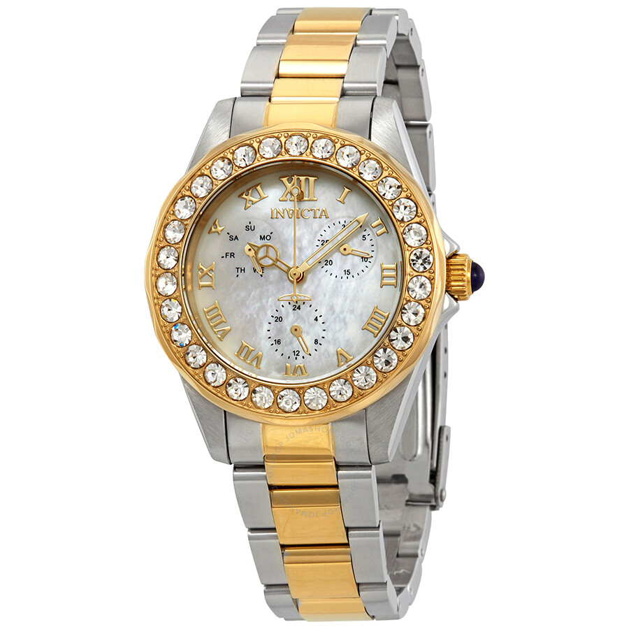 Invicta Angel Crystal White Mother of Pearl Dial Ladies Watch 28464