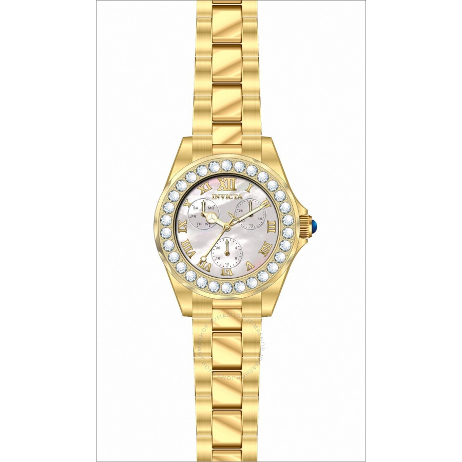 Invicta Angel Crystal White Mother of Pearl Dial Ladies Watch 28465