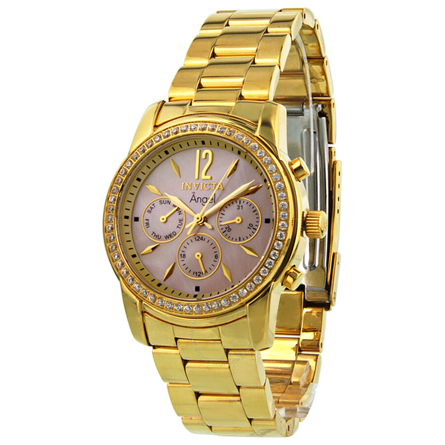 Invicta Angel GMT Diamond Accented Gold-tone Ladies Watch 11771