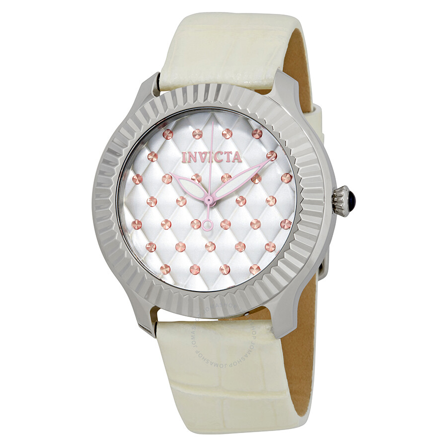 Invicta Angel Lady Silver Quilted Dial Ladies Watch 25744