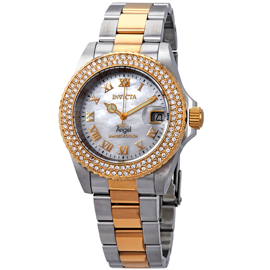 Invicta Angel Mother of Pearl Dial Ladies Two Tone Watch 24616