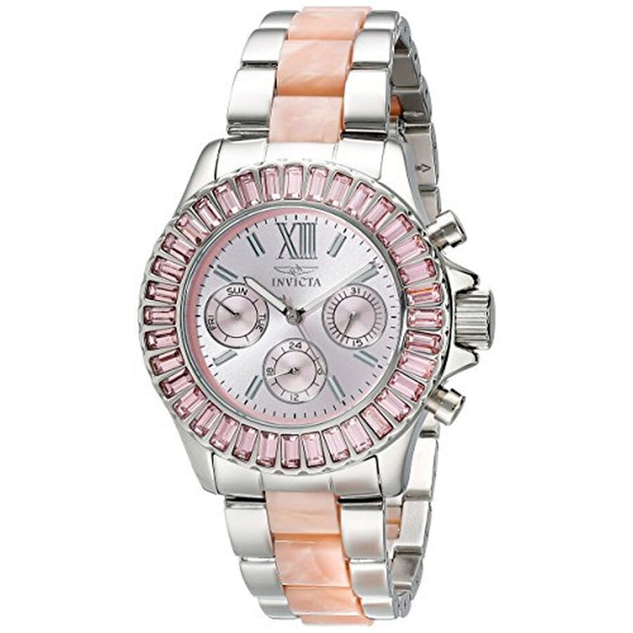 Invicta Angel Multi-Function Silver Dial Stainless Steel Pink Acetate Ladies..