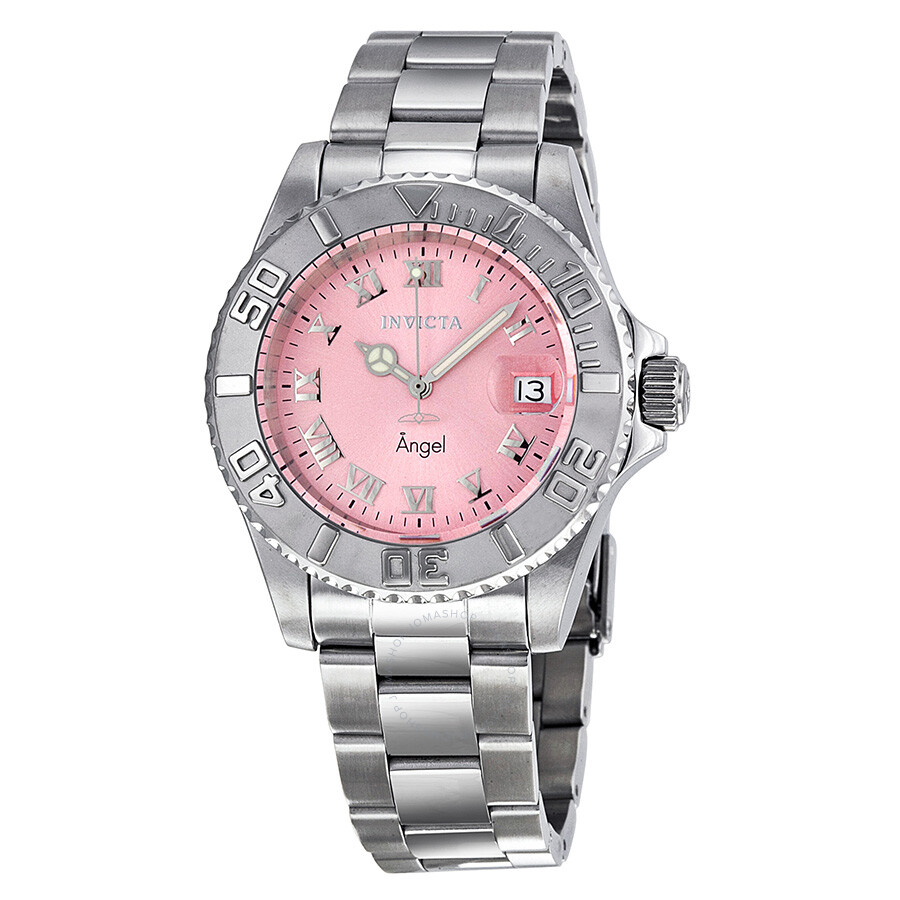 Invicta Angel Pink Dial Stainless Steel Ladies Watch 14360 - Angel ...