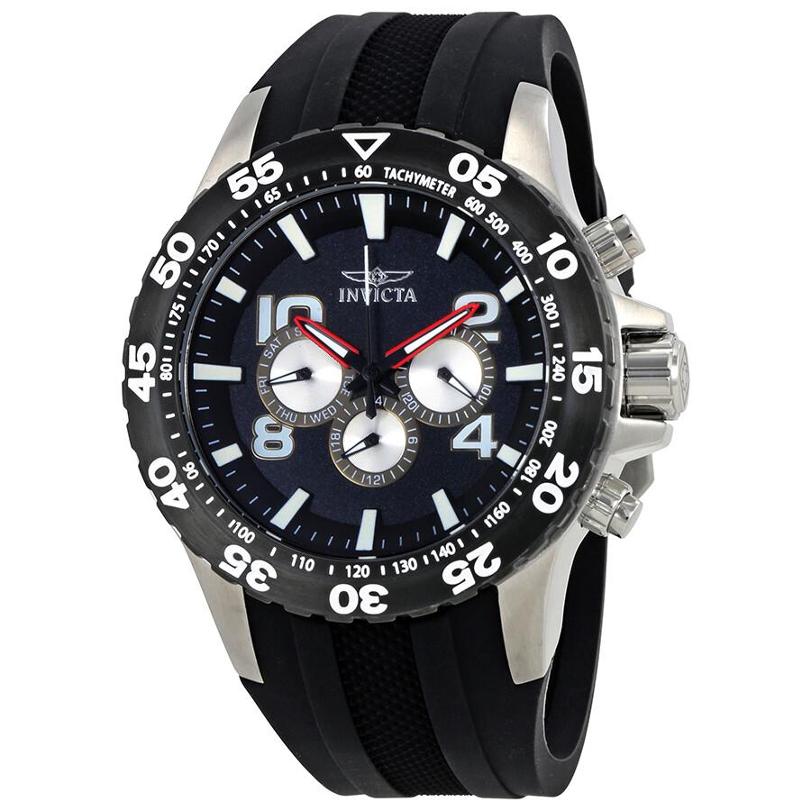 Invicta Aviator Multi-Function Black Dial Black Polyurethane Mens Watch 20375