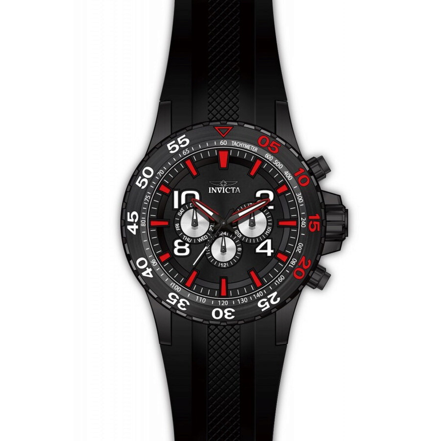 Invicta Aviator Multi-Function Black Dial Black Polyurethane Mens Watch 20376