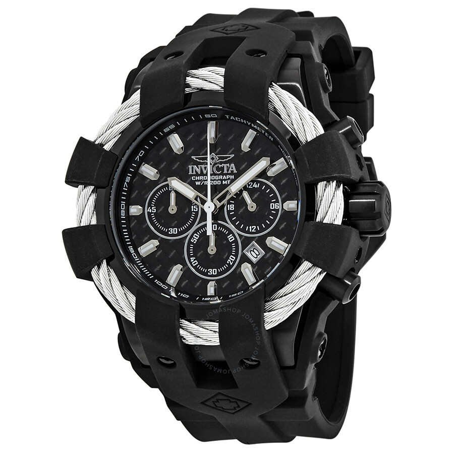 invicta bolt chronograph black carbon fiber dial men s watch 23863