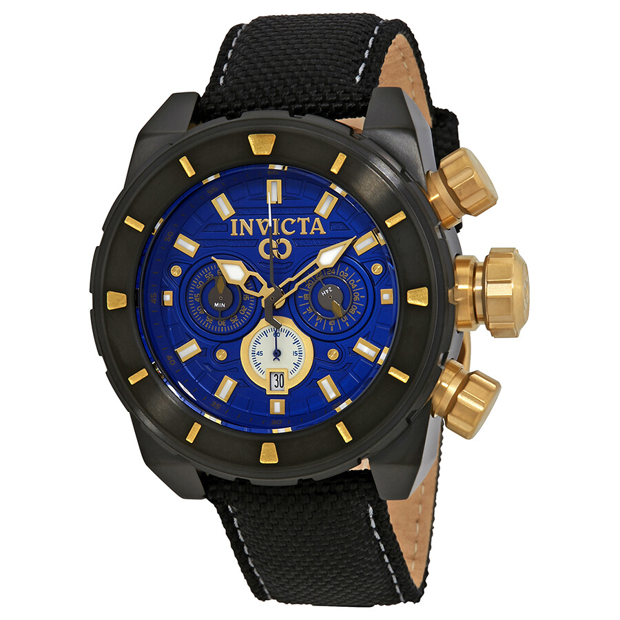 invicta male invicta corduba chronograph blue dial black nylon mens watch 22335