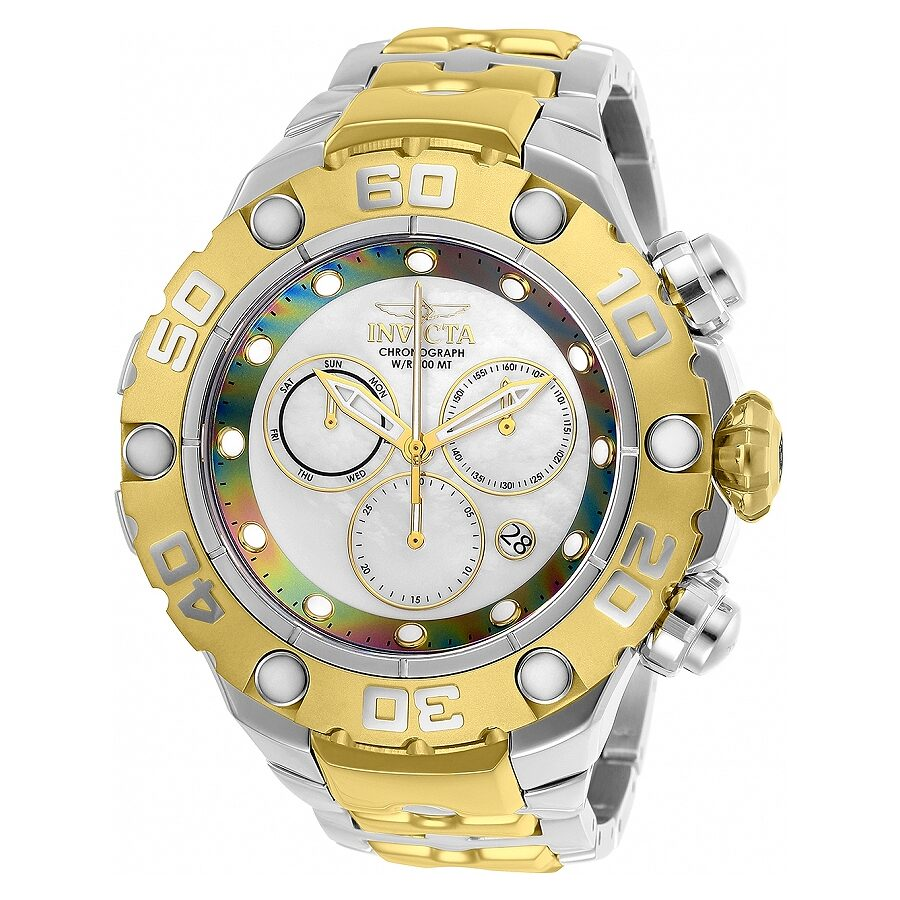 Invicta Excursion Chronograph White Dial Two-tone Mens Watch 25718