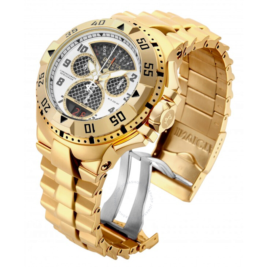 Invicta Excursion White Dial With Black Subdials Mens Gold Tone Chronograph Watch 17470