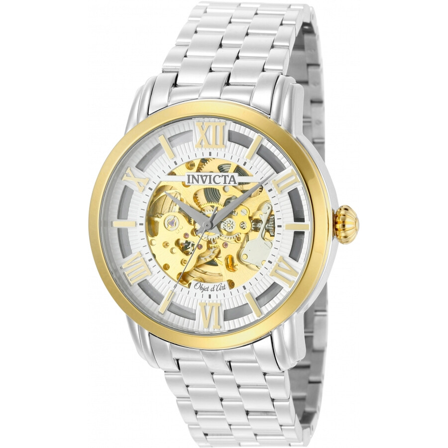 Invicta Objet D Art Automatic Silver Skeleton Dial Mens Watch 22627