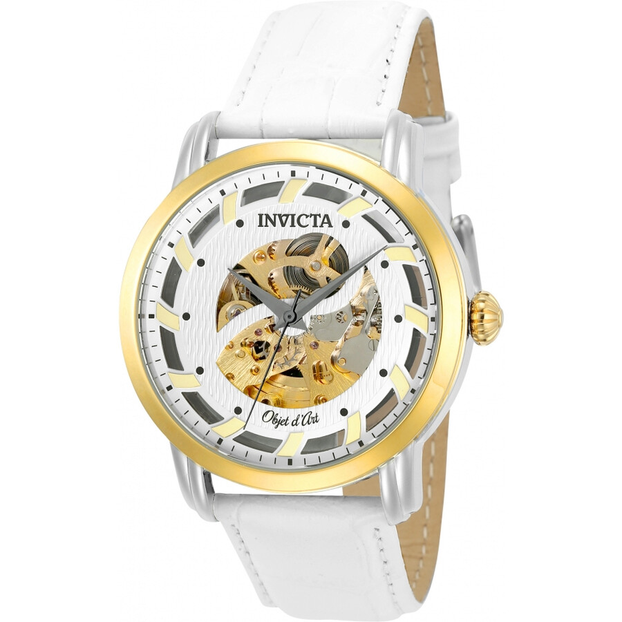 Invicta Objet D Art Automatic Silver Skeleton Dial Mens Watch 22635