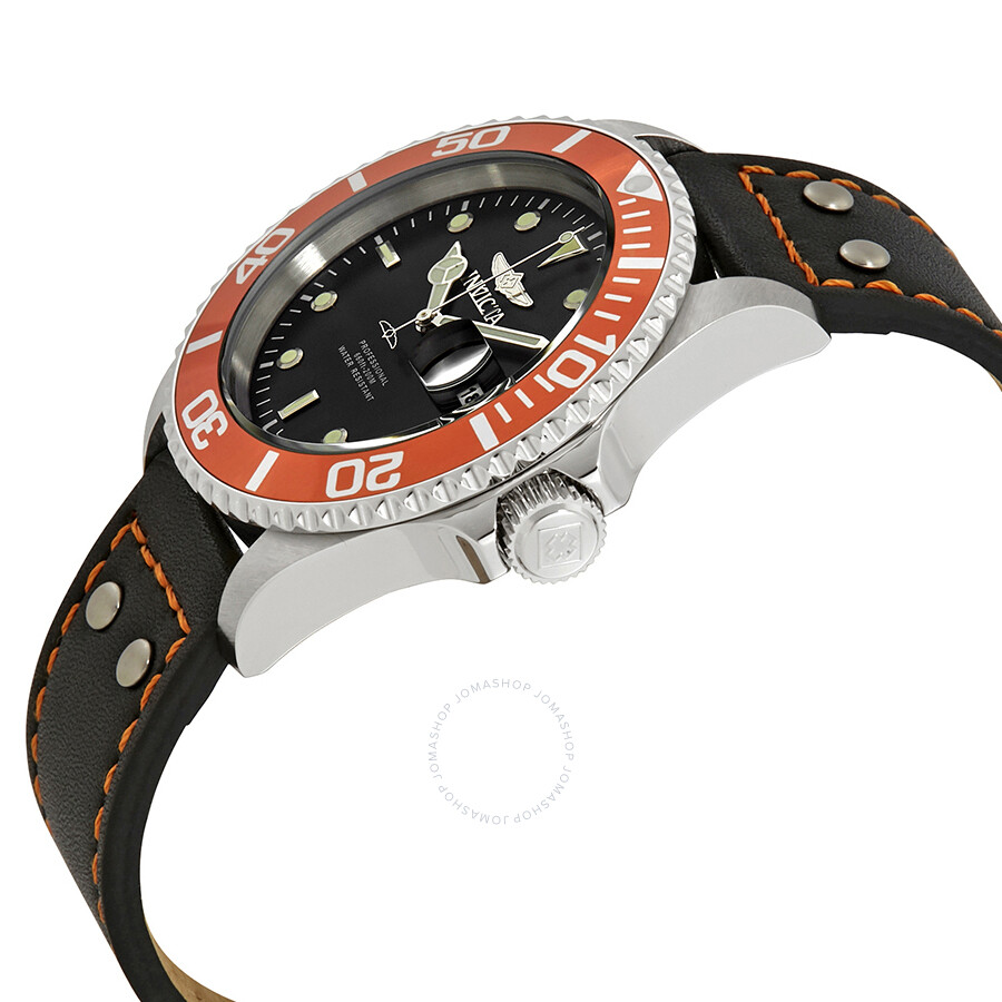 ... Invicta Pro Diver Black Dial Orange Bezel Black Leather Men's Watch  22071 ...