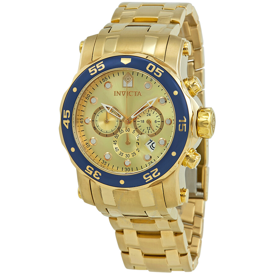 Invicta Pro Diver Chronograph Gold Dial Mens Watch 23669