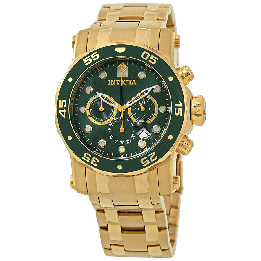 Invicta Pro Diver Chronograph Green Dial Mens Watch 23653