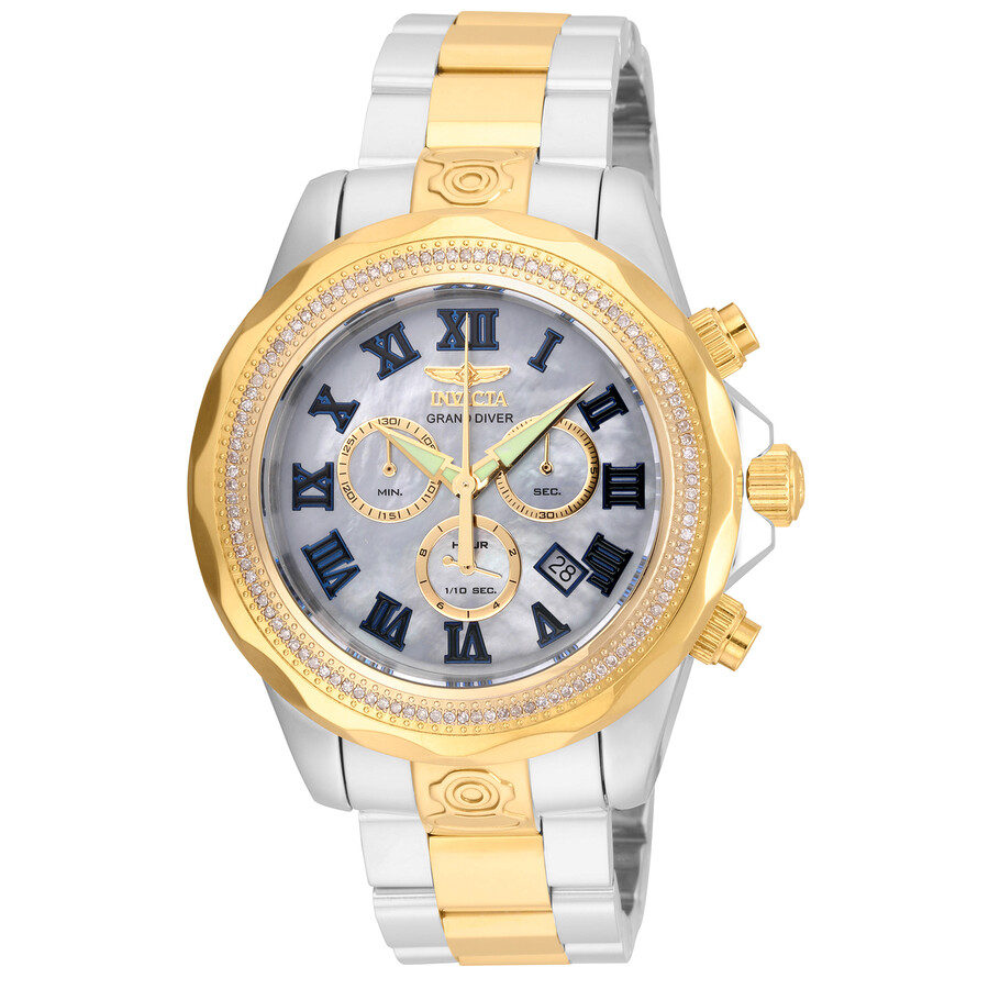 Invicta Pro Diver Chronograph Mother of Pearl Dial Mens Watch 21713