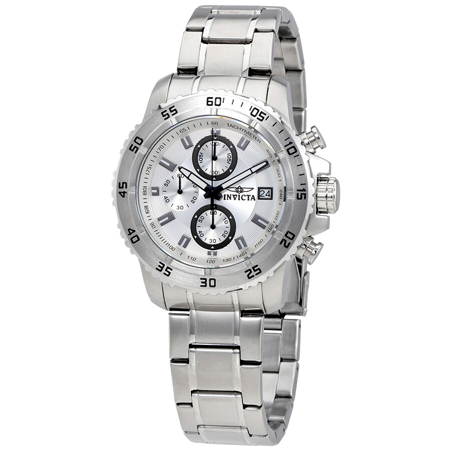 invicta male invicta pro diver silver dial chronograph mens watch 21570
