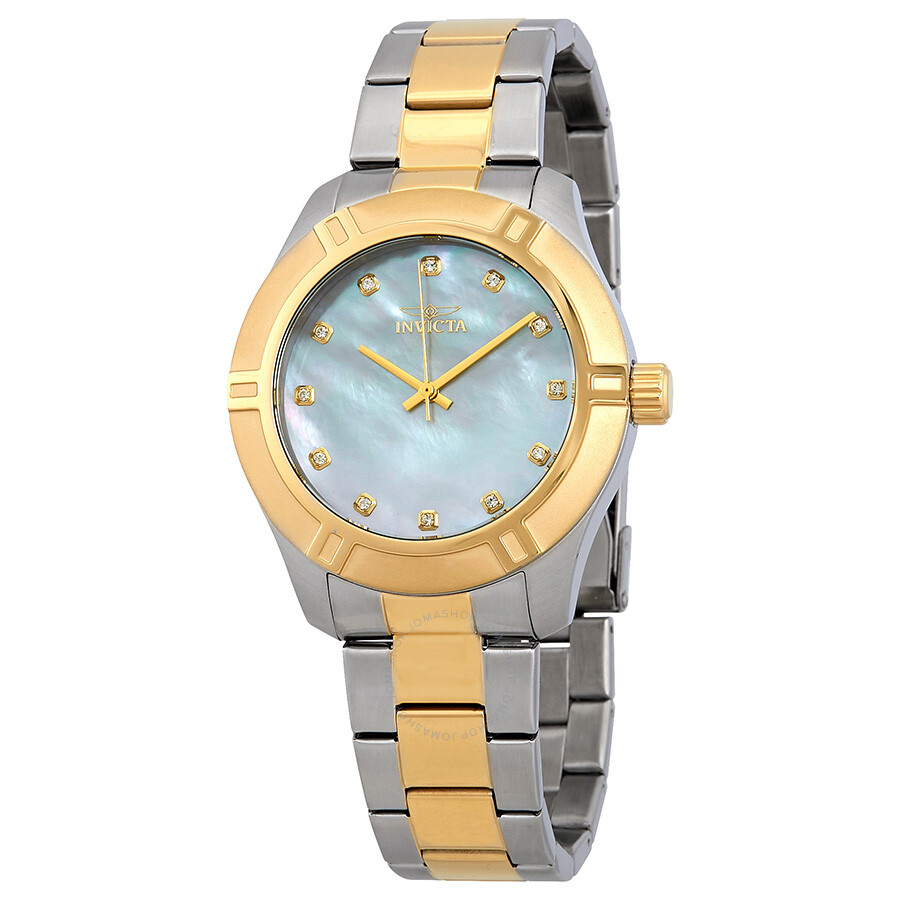 Invicta Pro Diver White Mother of Pearl Dial Mens Two Tone Watch 18336