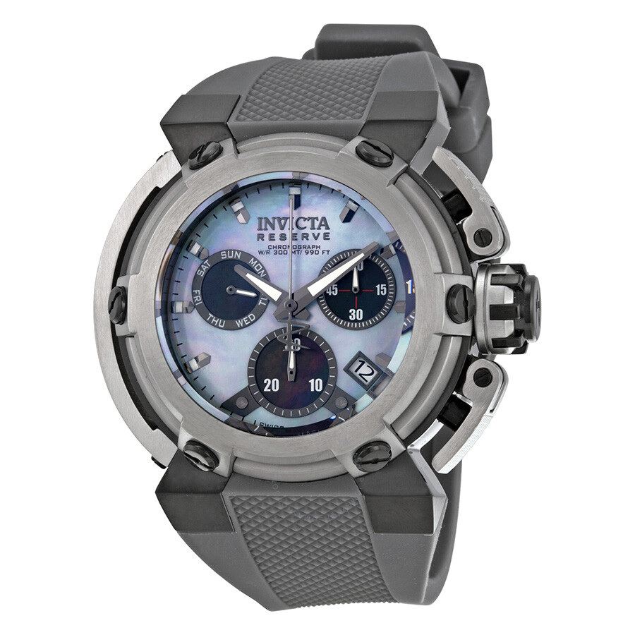Invicta Reserve Chronograph Platinum Mother of Pearl Dial Grey Polyurethane  Men's Watch 18343 ...