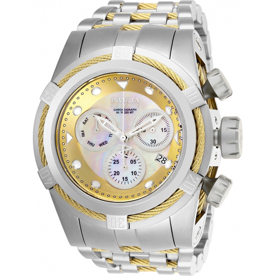 Invicta Reserve Chronograph White Mother of Pearl Dial Mens Watch 26187