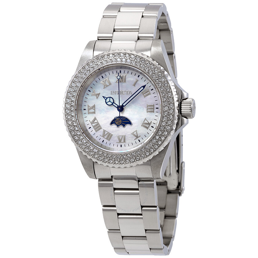 Invicta Sea Base White Mother of Pearl Dial Crystal Ladies Watch 23829