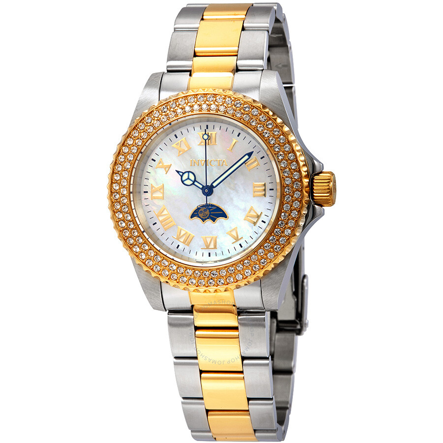 Invicta Sea Base White Mother of Pearl Dial Crystal Ladies Watch 23831
