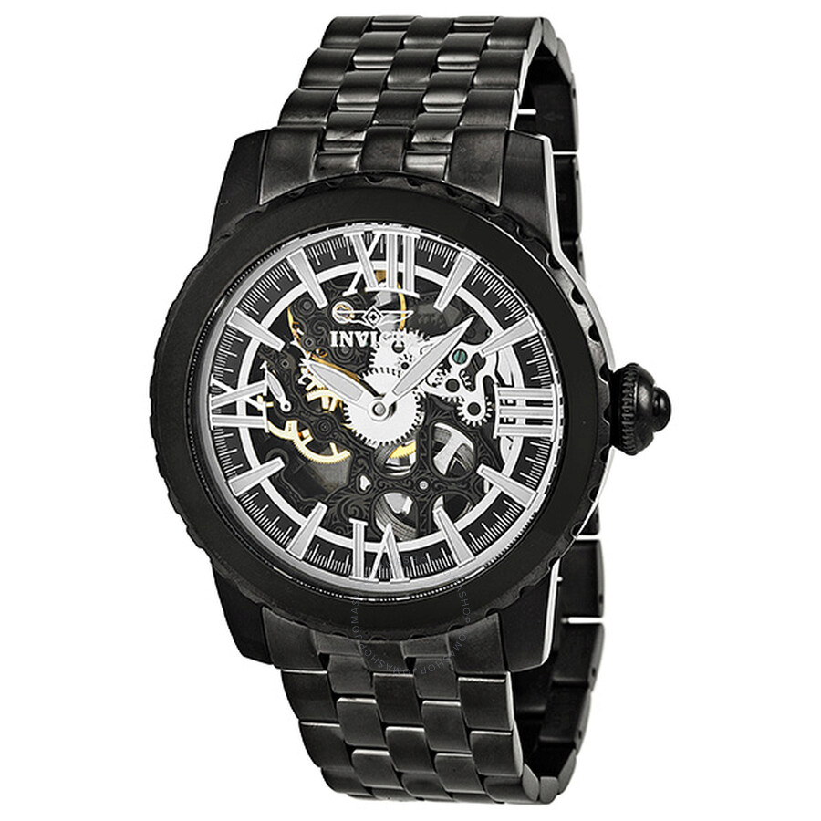 Invicta Specialty Black Skeletal Dial Black PVD Mechanical Men's Watch 14556  ...