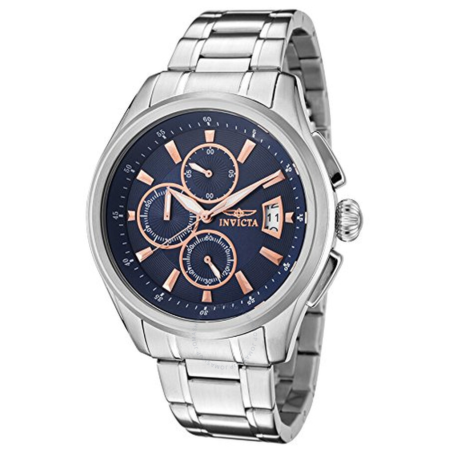 Invicta Specialty Chronograph Navy Blue Dial Stainless Steel Mens Watch 1482