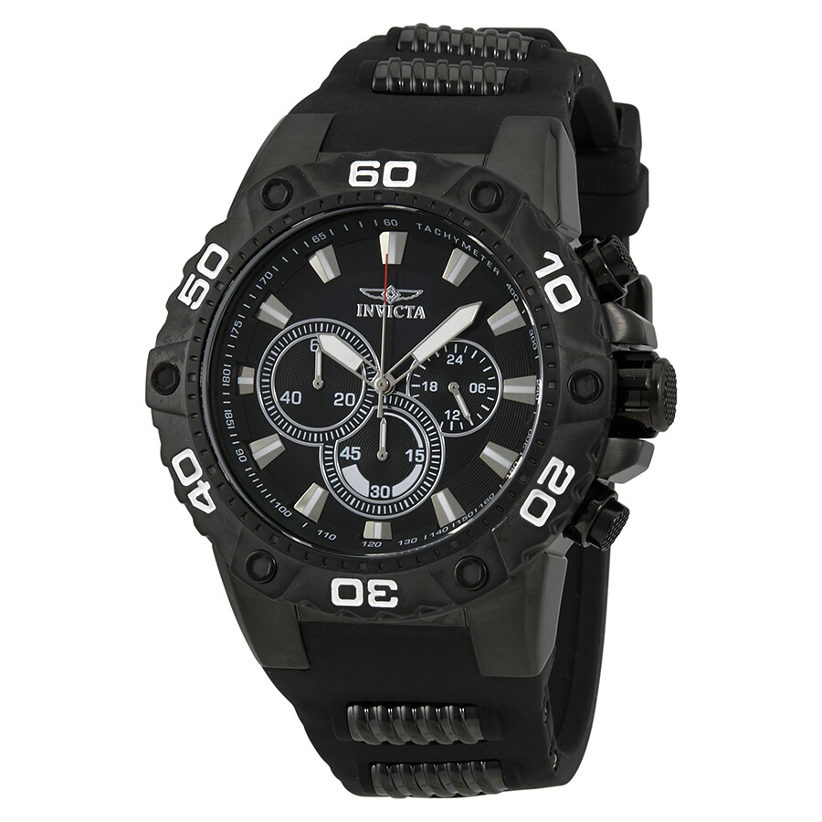 invicta male invicta speedway chronograph black dial black rubber mens watch 22686