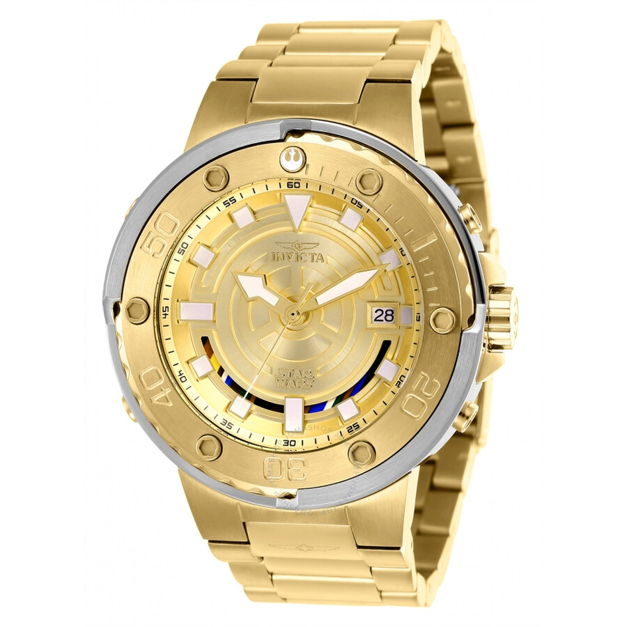Invicta Star Wars Automatic Gold Dial Mens Watch 26114