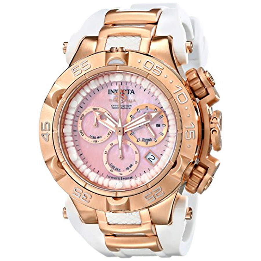 Invicta Subaqua Chronograph Pink Mother of Pearl Dial White Silicone Ladies Watch 17240