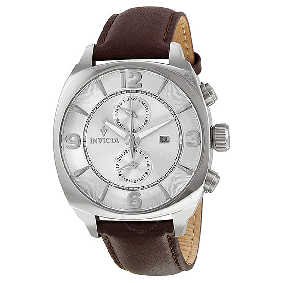 Invicta Vintage Quartz Silver Dial Brown Leather Strap Men's Watch 12206 ...