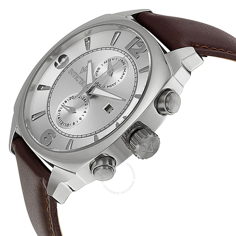 ... Invicta Vintage Quartz Silver Dial Brown Leather Strap Men's Watch 12206  ...