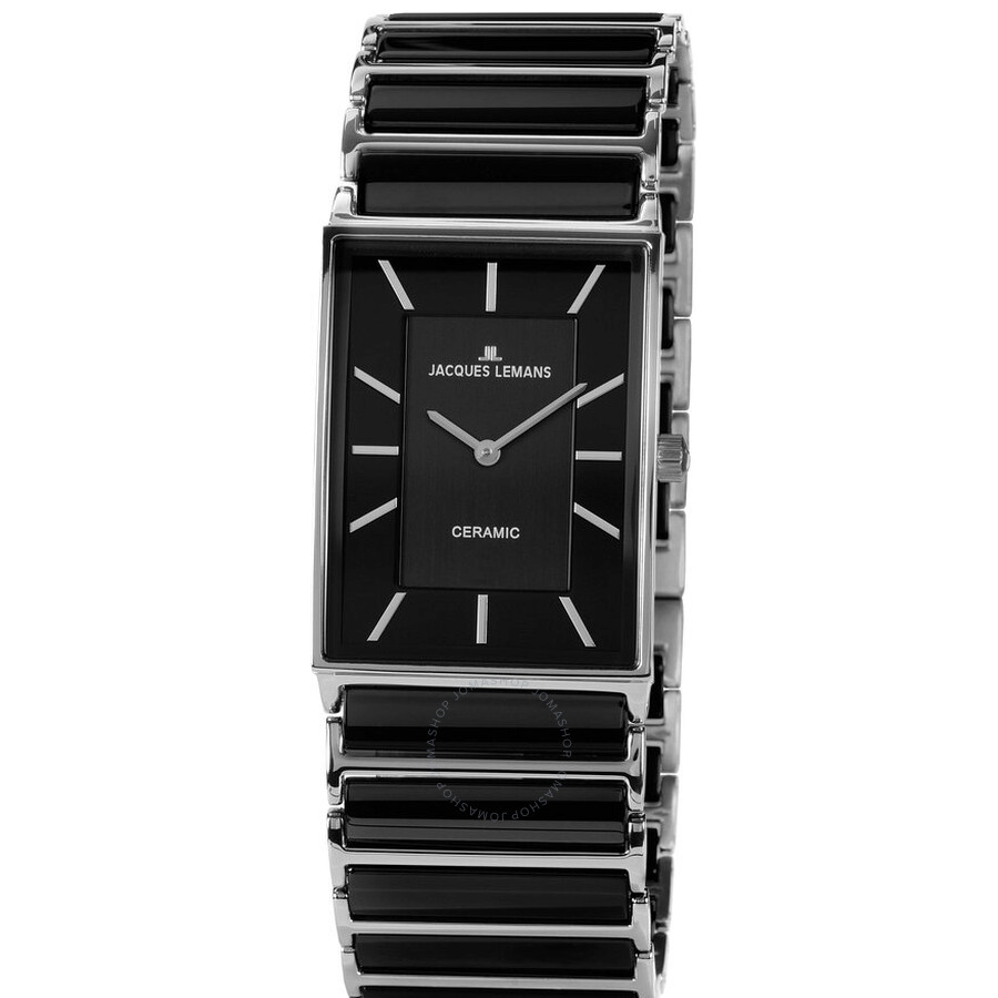 Jacques Lemans Black Dial Ceramic and Stainless Steel Ladies Watch 1-1651A