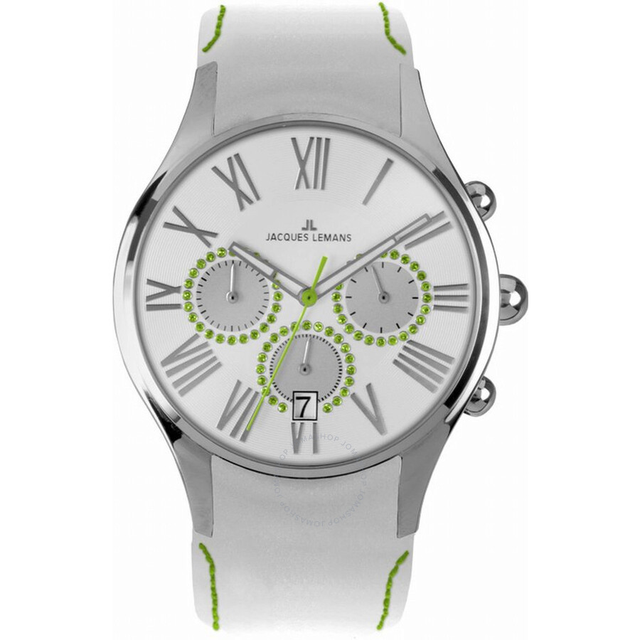 Jacques Lemans Capri Silver Dial Chronograph Leather Ladies Watch 1-1606N