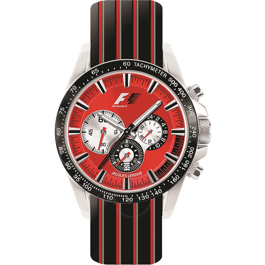 Jacques Lemans Formula 1 Red Dial Chronograph Rubber Strap Mens Watch PF-5023G