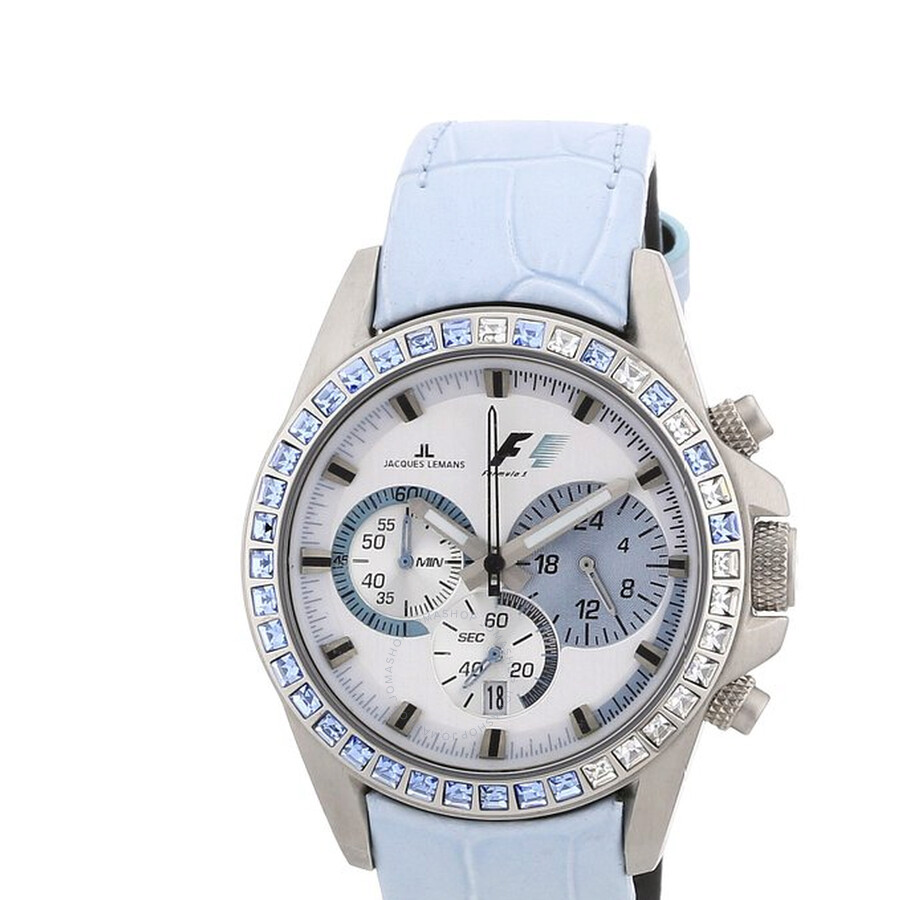 Jacques Lemans Formula 1 Silver Dial Chronograph Blue Leather Ladies Watch PF-5006R