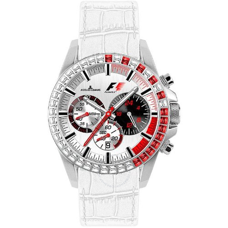 Jacques Lemans Formula 1 Silver Dial Chronograph White Leather Ladies Watch PF-5006T