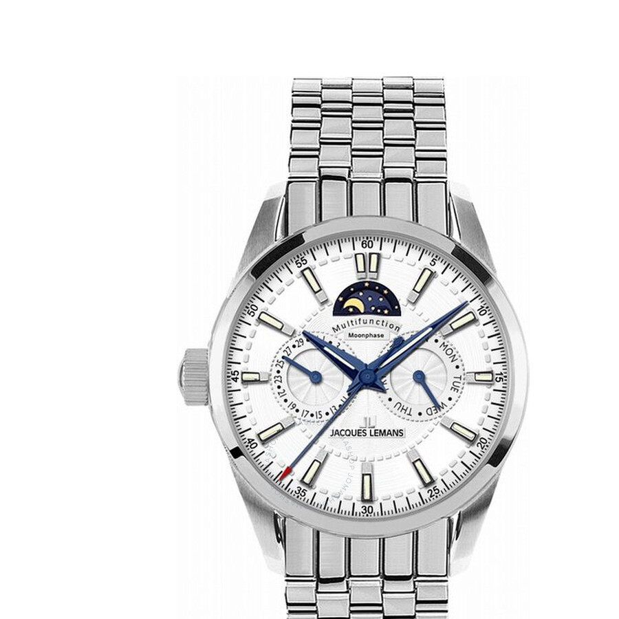 Jacques Lemans Liverpool Moonphase White Dial Stainless Steel Mens Watch 1-1596G