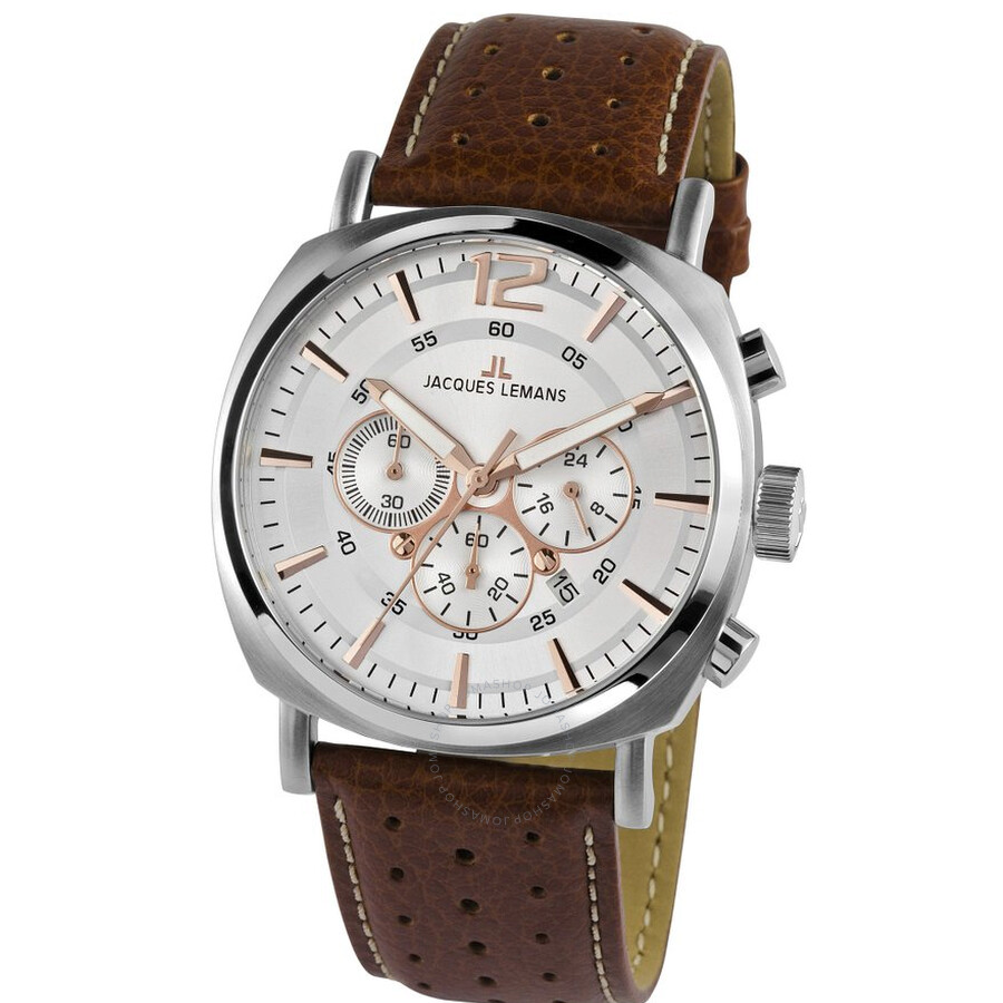 Jacques Lemans Lugano Silver Dial Chronograph Mens Watch 1-1645D