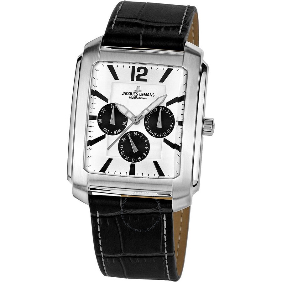 Jacques Lemans Madrid Silver and Black Dial Leather Mens Watch 1-1463T