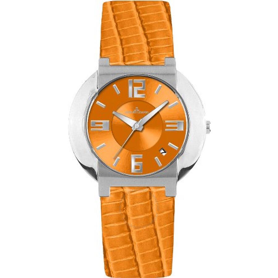 Jacques Lemans Miami Orange Dial Leather Ladies Watch 1-1054F1
