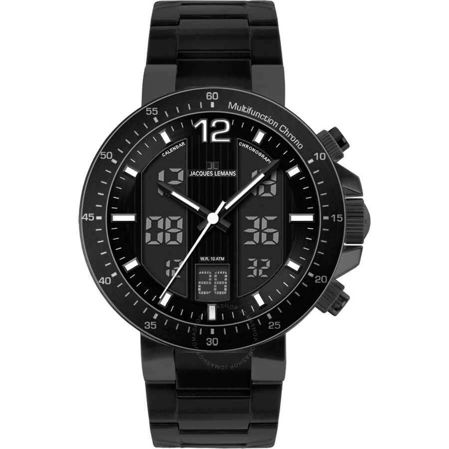Jacques Lemans Milano Black Analog-Digital Dial Mens Watch 1-1726F