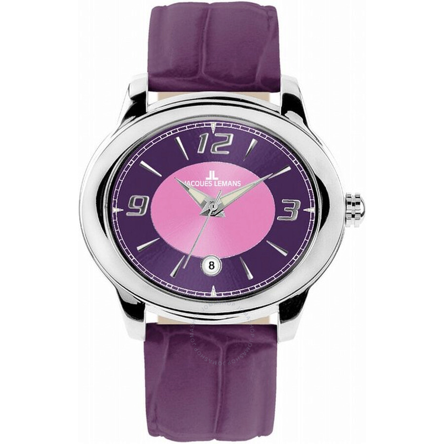 Jacques Lemans Purple Pink Dial Leather Ladies Watch 1-1081O